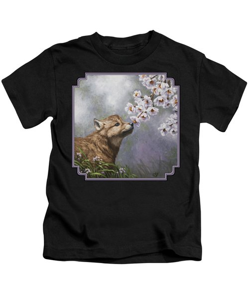 Wolf Pup - Baby Blossoms Kids T-Shirt by Crista Forest