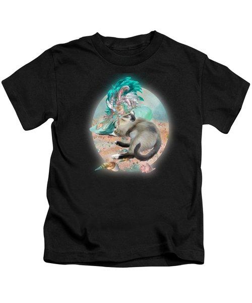 Cat In Summer Beach Hat Kids T-Shirt
