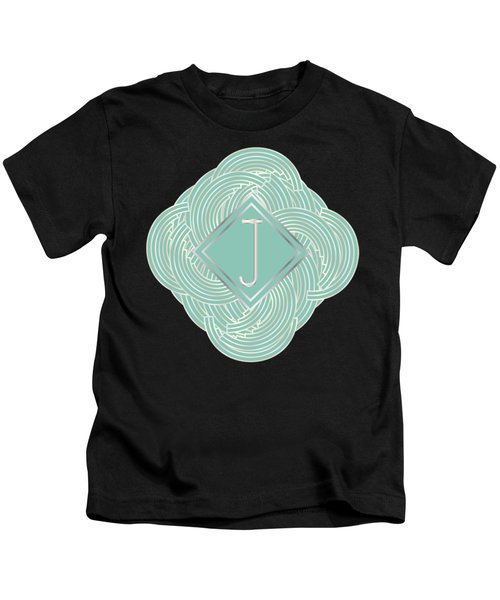1920s Blue Deco Jazz Swing Monogram ...letter J Kids T-Shirt by Cecely Bloom
