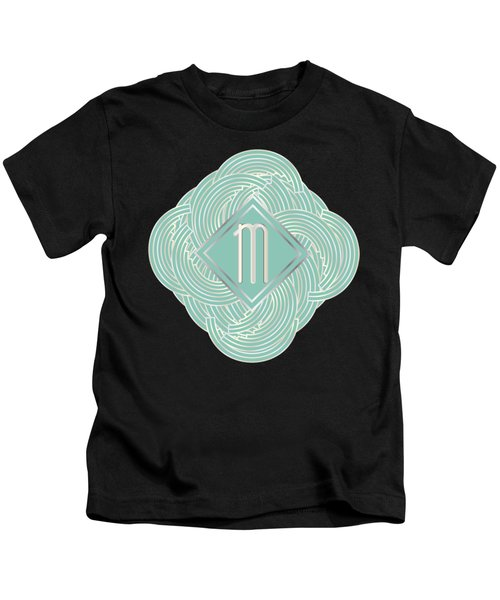 1920s Blue Deco Jazz Swing Monogram ...letter M Kids T-Shirt by Cecely Bloom