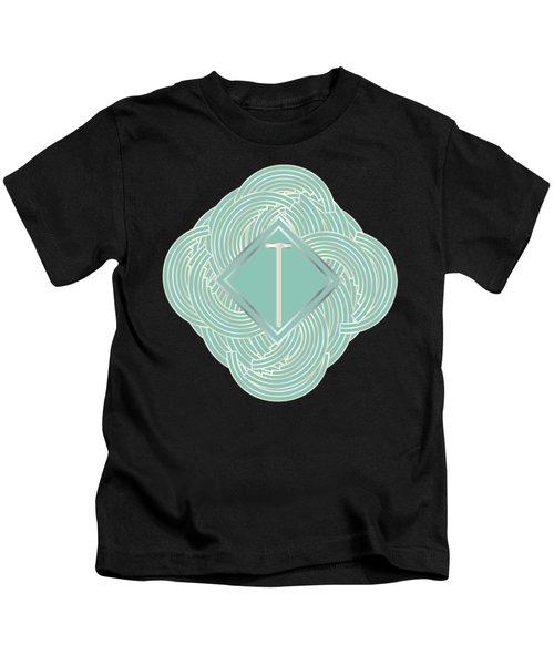 1920s Blue Deco Jazz Swing Monogram ...letter T Kids T-Shirt