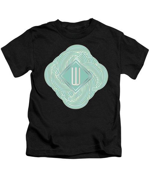1920s Blue Deco Jazz Swing Monogram ...letter W Kids T-Shirt by Cecely Bloom