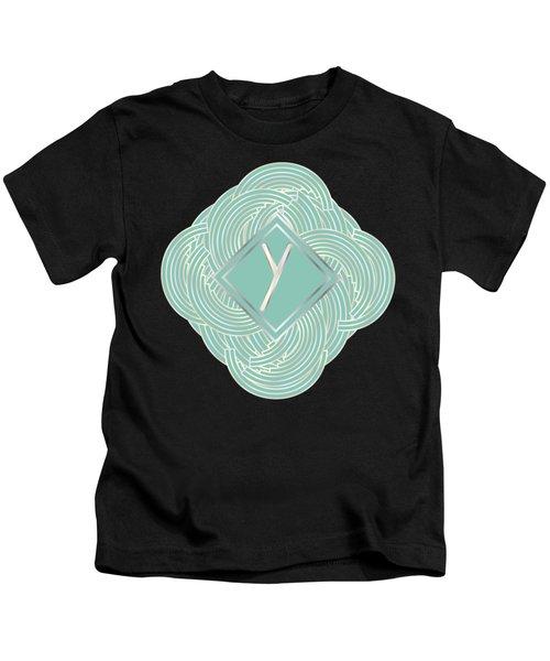 1920s Blue Deco Jazz Swing Monogram ...letter Y Kids T-Shirt