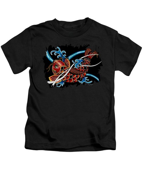 Asian Koi Kids T-Shirt by Maria Arango