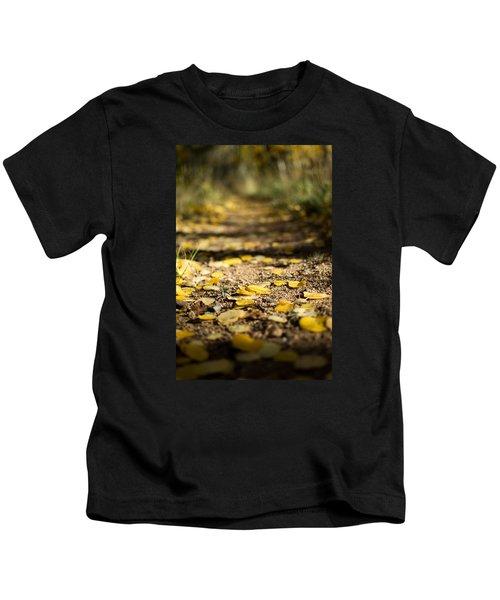 Aspen Leaves On Trail Kids T-Shirt