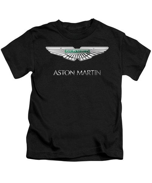 Aston Martin 3 D Badge On Black  Kids T-Shirt