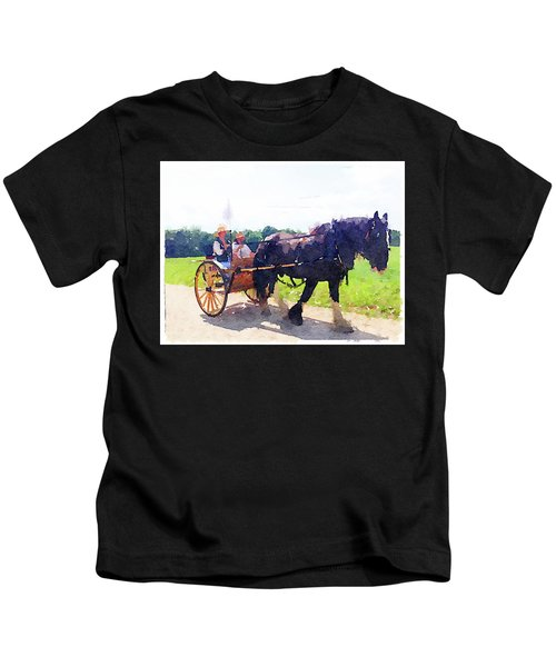 Horse And Buggy At Mount Vernon Kids T-Shirt