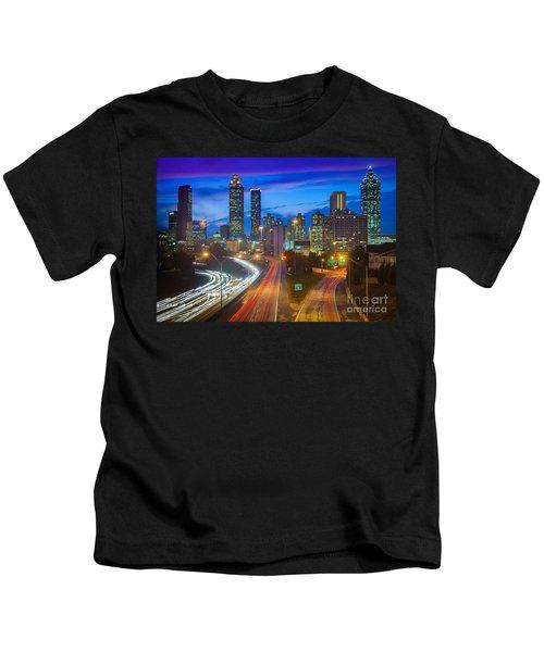 Atlanta Downtown By Night Kids T-Shirt