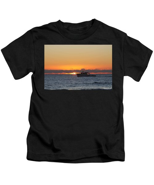 Atlantic Ocean Fishing At Sunrise Kids T-Shirt