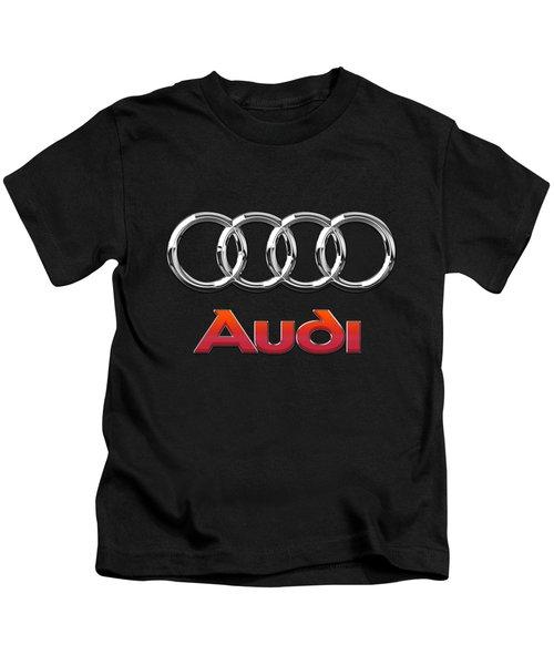 Audi 3 D Badge On Black Kids T-Shirt