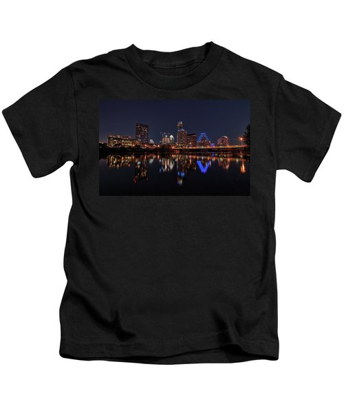 Austin Skyline At Night Kids T-Shirt