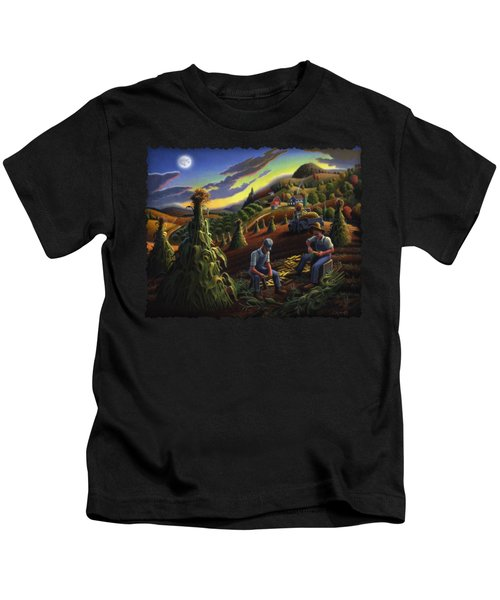 Autumn Farmers Shucking Corn Appalachian Rural Farm Country Harvesting Landscape - Harvest Folk Art Kids T-Shirt