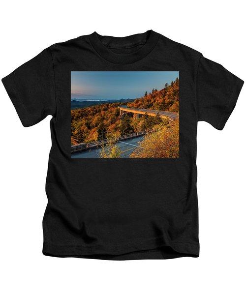 Morning Sun Light - Autumn Linn Cove Viaduct Fall Foliage Kids T-Shirt