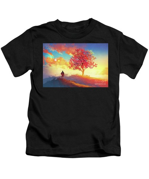 Kids T-Shirt featuring the painting Autumn Sunrise by Tithi Luadthong