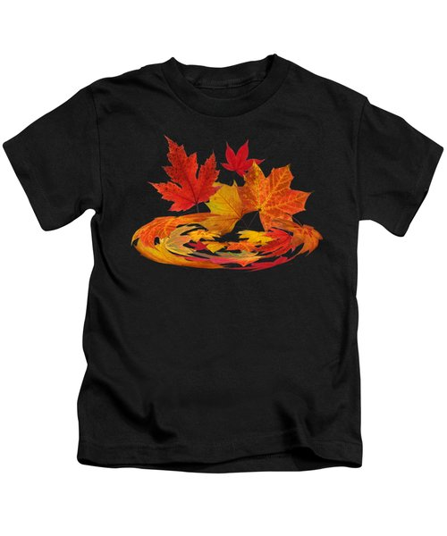 Autumn Winds - Colorful Leaves On Black Kids T-Shirt