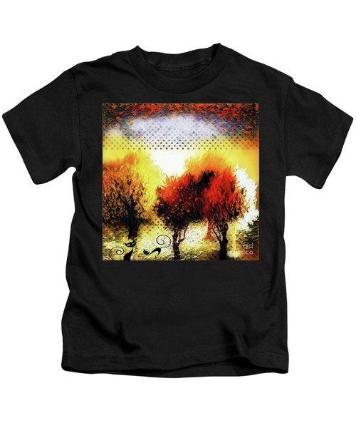 Autumn With Cat Focus Kids T-Shirt