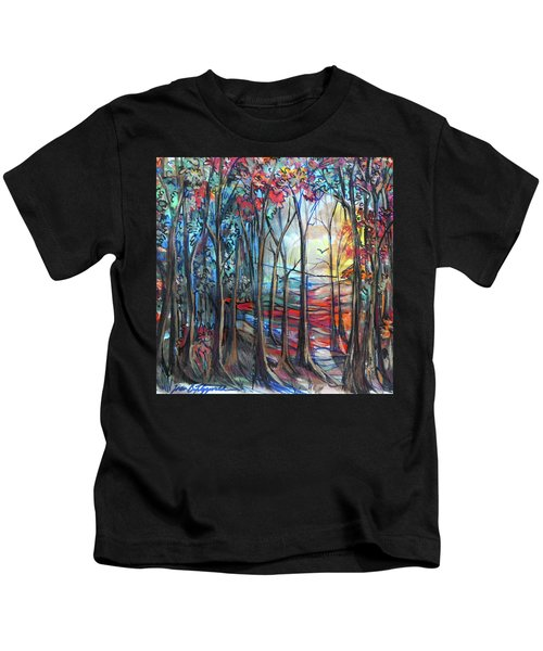 Autumn Woods Sunrise Kids T-Shirt