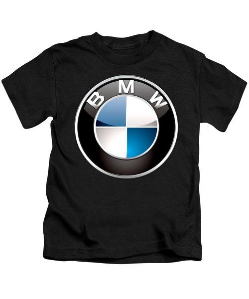 B M W  3 D Badge On Black Kids T-Shirt