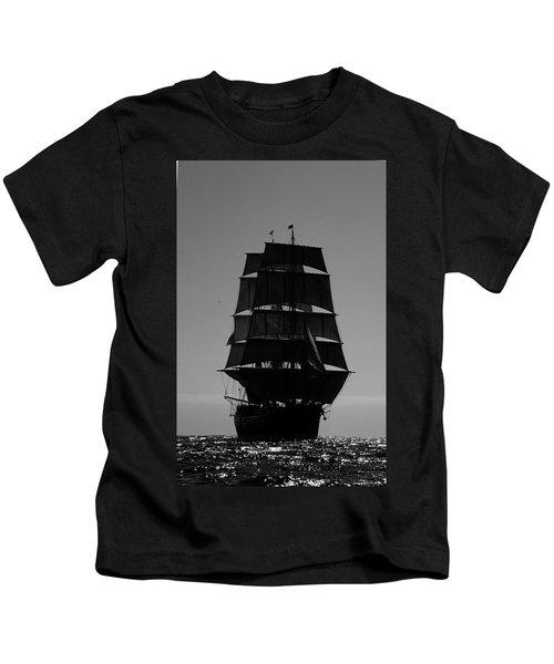 Back Lit Tall Ship Kids T-Shirt
