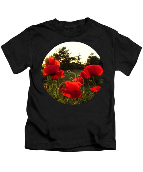 Backlit Red Poppies Kids T-Shirt