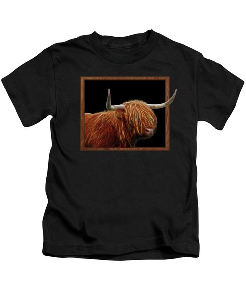 Bad Hair Day - Highland Cow - On Black Kids T-Shirt