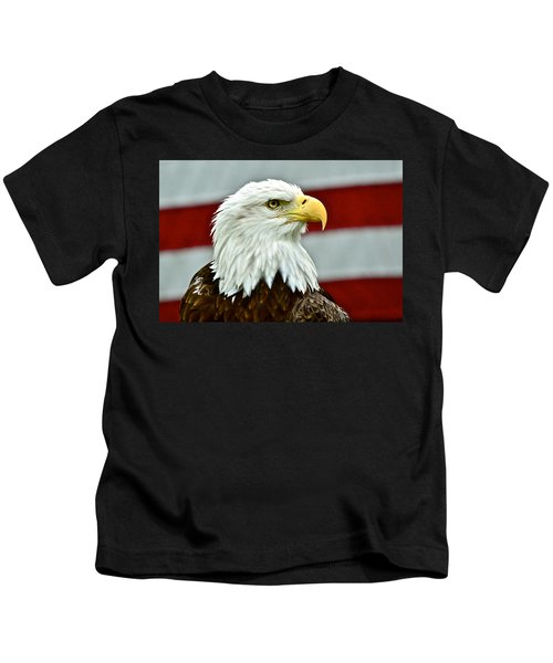 Bald Eagle And Old Glory Kids T-Shirt