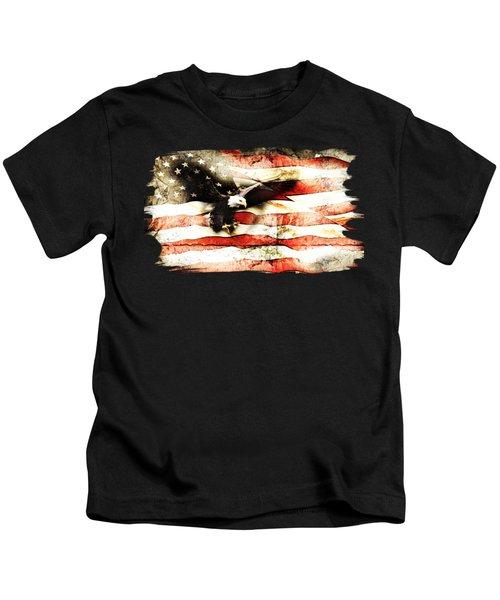 Bald Eagle Bursting Thru Flag Kids T-Shirt