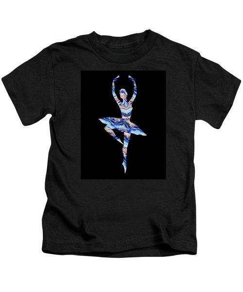 Ballerina Silhouette Blue Agate Dance Kids T-Shirt