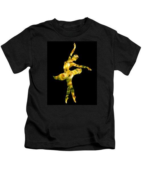 Ballerina Silhouette Green Beige Yellow Kids T-Shirt
