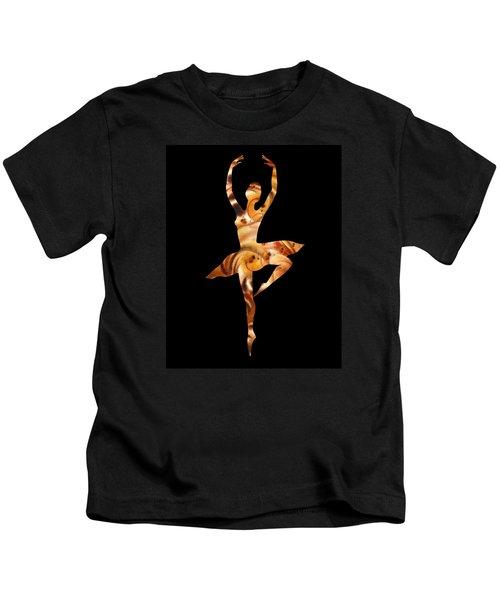 Ballerina Silhouette Warm Swirl Dance Kids T-Shirt