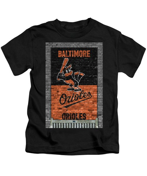 Baltimore Orioles Brick Wall Kids T-Shirt by Joe Hamilton