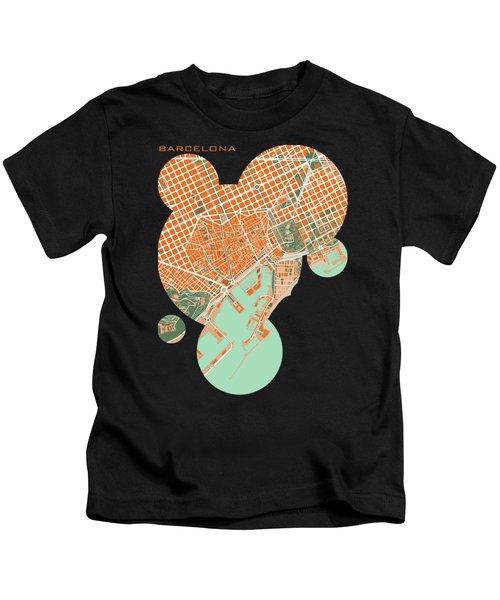 Barcelona Orange Kids T-Shirt by Jasone Ayerbe- Javier R Recco