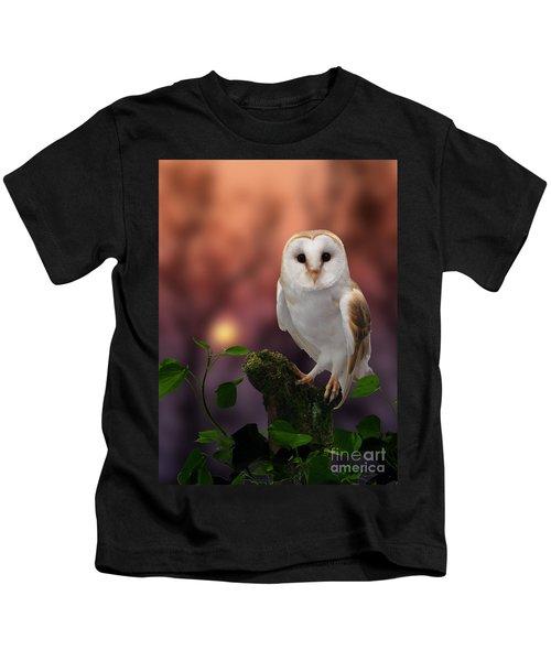 Barn Owl At Sunset Kids T-Shirt
