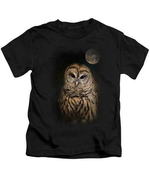 Barred Owl And The Moon Kids T-Shirt by Jai Johnson