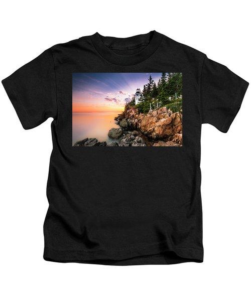 Bass Harbor Lighthouse Sunset Kids T-Shirt