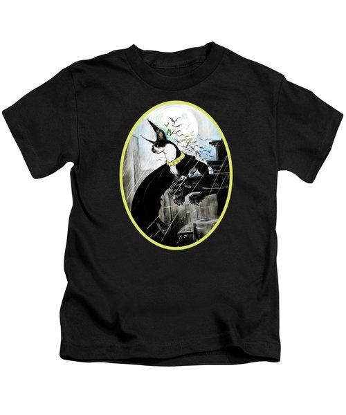 Batman Boston Terrier Caricature Art Print Kids T-Shirt