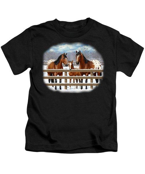 Bay Appaloosa Horses In Snow Kids T-Shirt