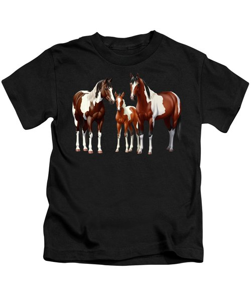 Bay Paint Horses In Winter Kids T-Shirt