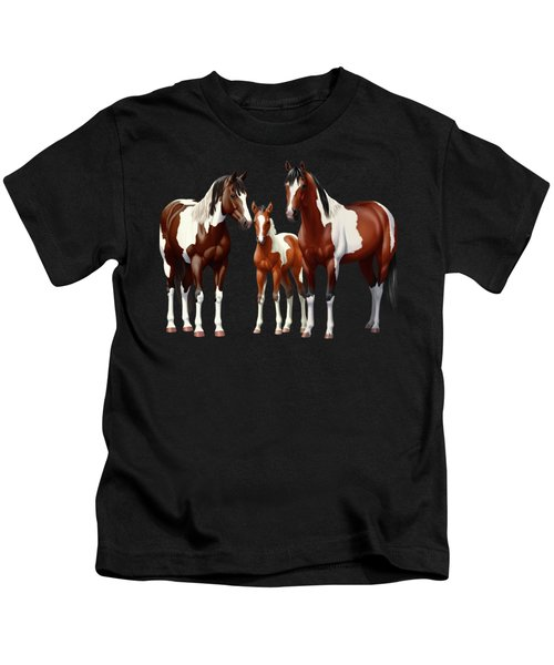 Bay Paint Horses In Winter Kids T-Shirt