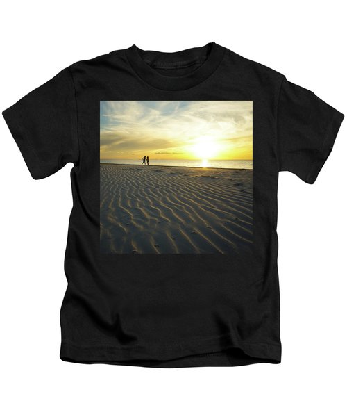 Beach Silhouettes And Sand Ripples At Sunset Kids T-Shirt