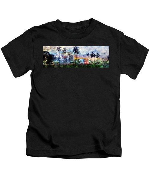 Beautiful South Beach Watercolor Kids T-Shirt by Jon Neidert