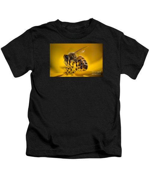 Bee Enjoys Collecting Pollen From Yellow Coreopsis Kids T-Shirt