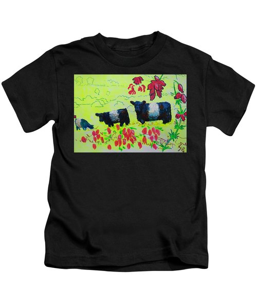 Belted Galloway Cows And Heather Illustration Kids T-Shirt