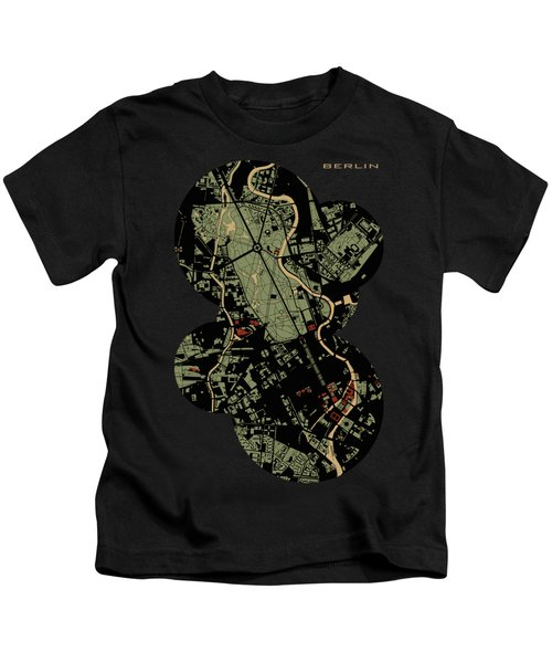Berlin Engraving Map Kids T-Shirt by Jasone Ayerbe- Javier R Recco