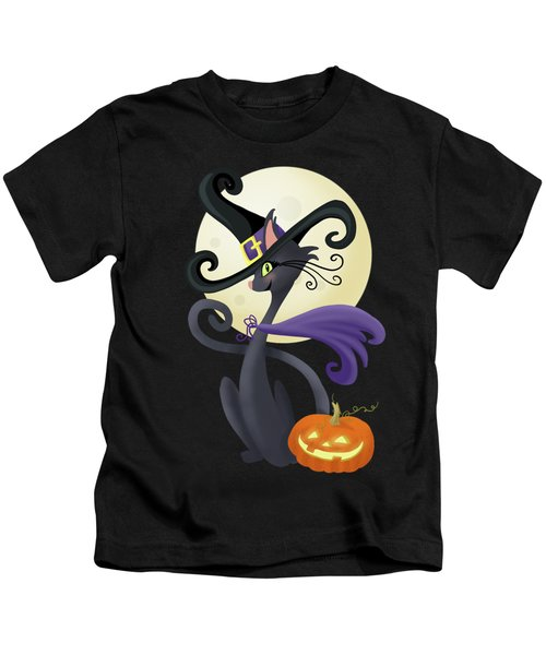 Bewitching Halloween Black Cat Kids T-Shirt