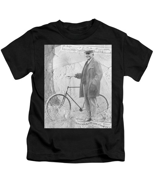 Bicycle And Jd Rockefeller Vintage Photo Art Kids T-Shirt