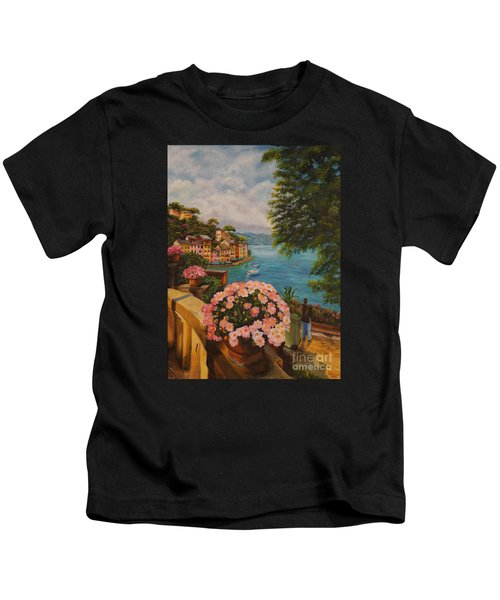 Bird's Eye View Of Portofino Kids T-Shirt