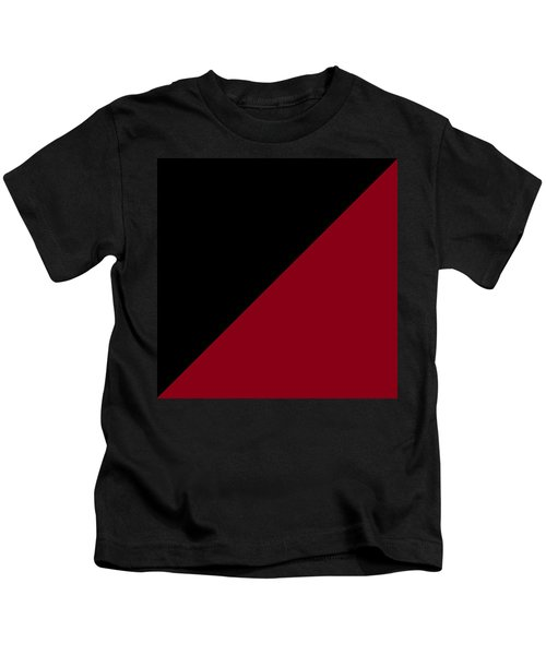 Black And Burgundy Triangles Kids T-Shirt