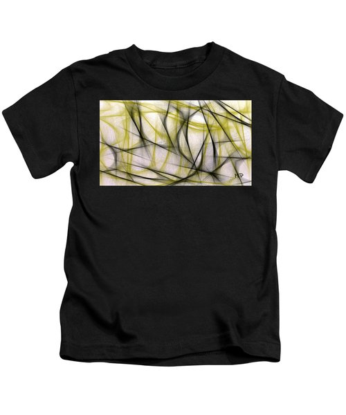 Kids T-Shirt featuring the mixed media Black And Green Abstract by Marian Palucci-Lonzetta