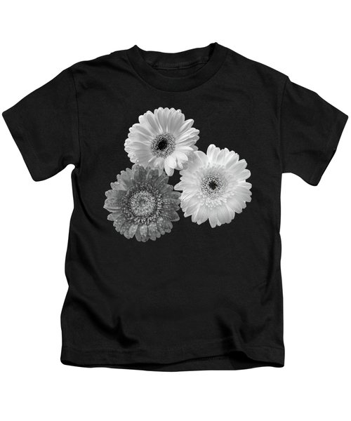 Black And White Gerbera Daisies Kids T-Shirt